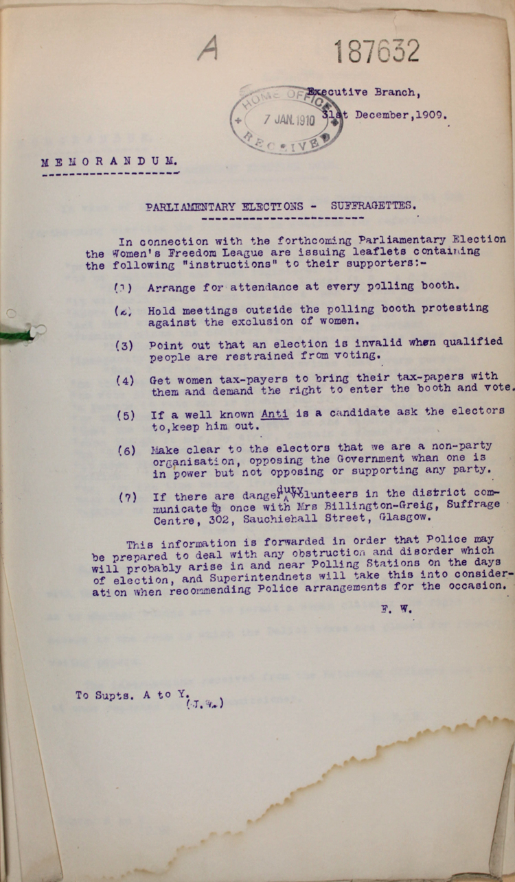 A police memorandum on the forthcoming 1910 General Election, 31 December 1909 (HO 45/10597/187632)