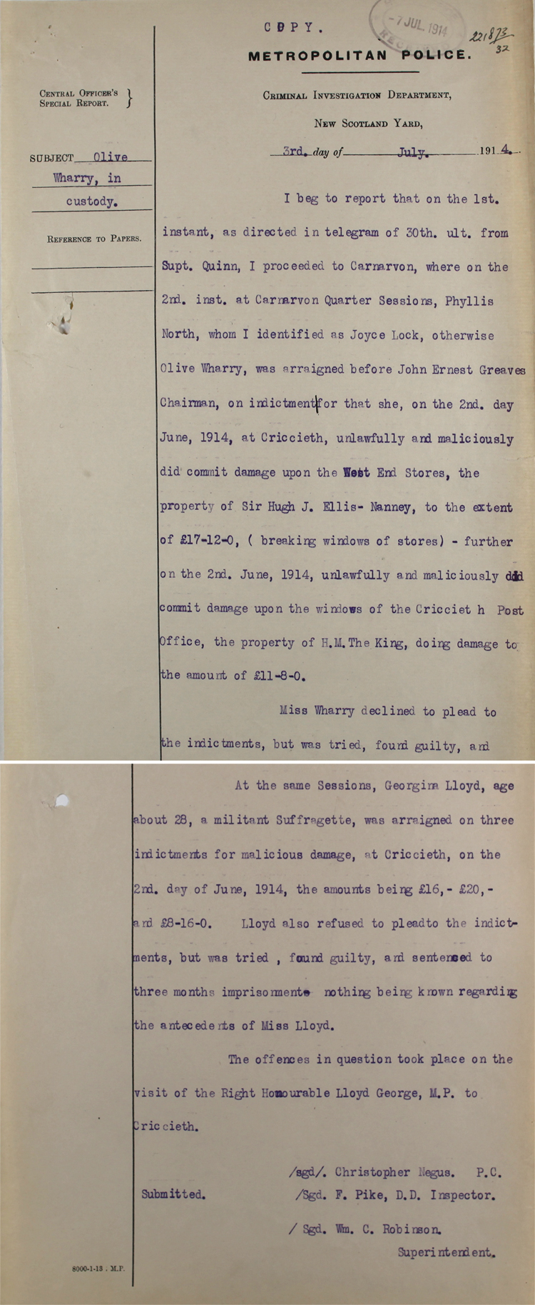 Extracts from a police report on Olive Wharry, 3 July 1914 (HO 144/1205/221873)