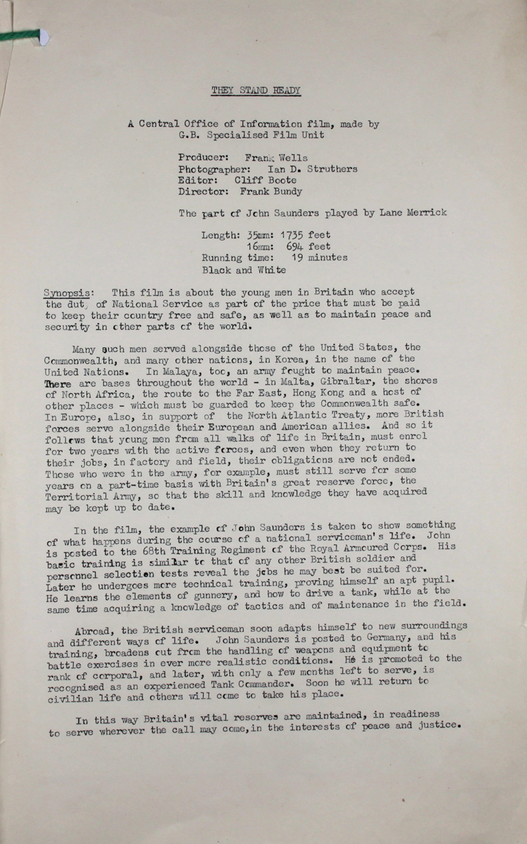 Plot synopsis for 'They Stand Ready', an official film about National Service made by Frank Bundy for the Central Office of Information, June 1955 (INF 6/812)