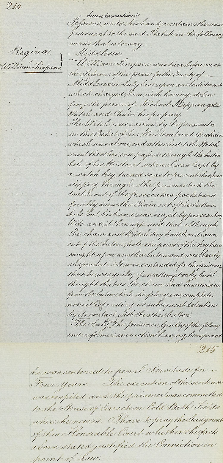 A court case involving the Crown: Queen Victoria against William Simpson, 1853 (KB 31/1)