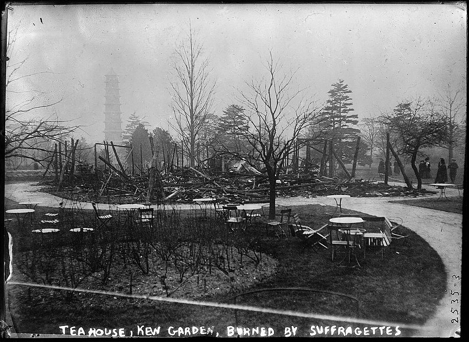 Tea House, Kew Gardens, burned by suffragettes (Bain Collection, Library of Congress)