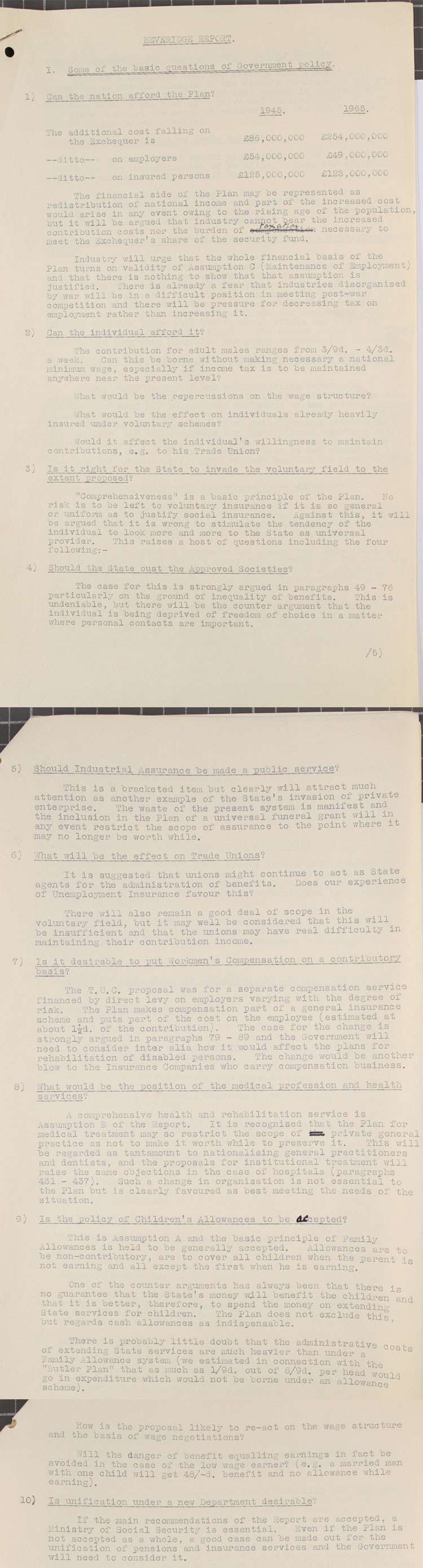 Questions drawn up arising from the Beveridge Report to be discussed within the Ministry of Labour, 2nd December, 1942 (LAB 12/6)