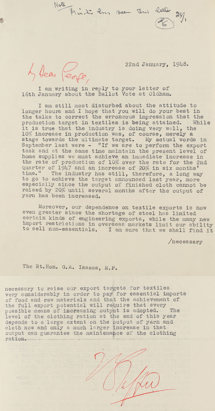 Letter from Chancellor of the Exchequer, Stafford Cripps to G.A. Isaacs, M.P. at the Ministry of Labour and National Service, 22nd January, 1948 (LAB 43/15)