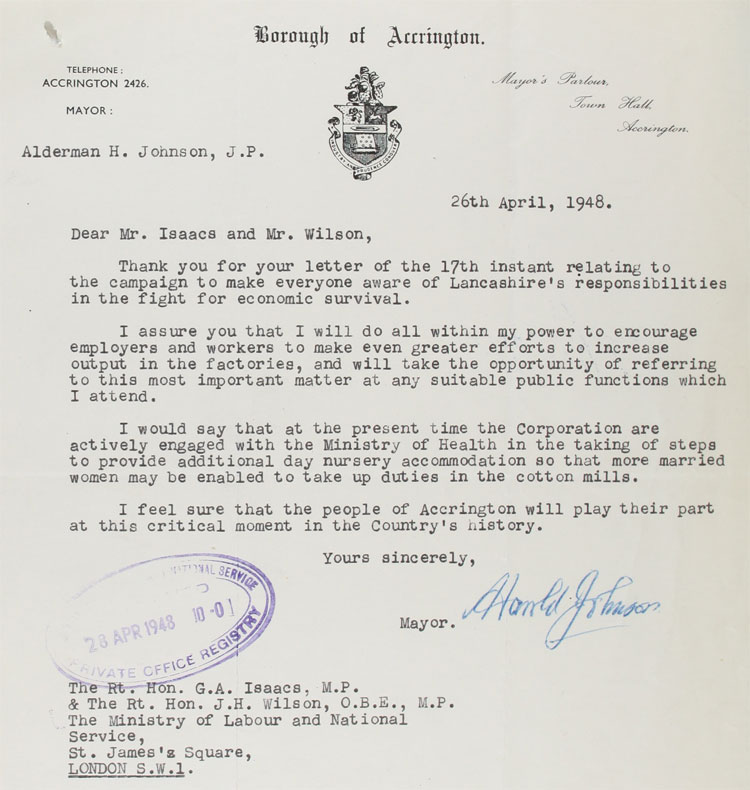 Letter from Accrington Mayor, Harold Johnson, to MPs at the Ministry of Labour and National Service, 26th April, 1948 (LAB 43/21)