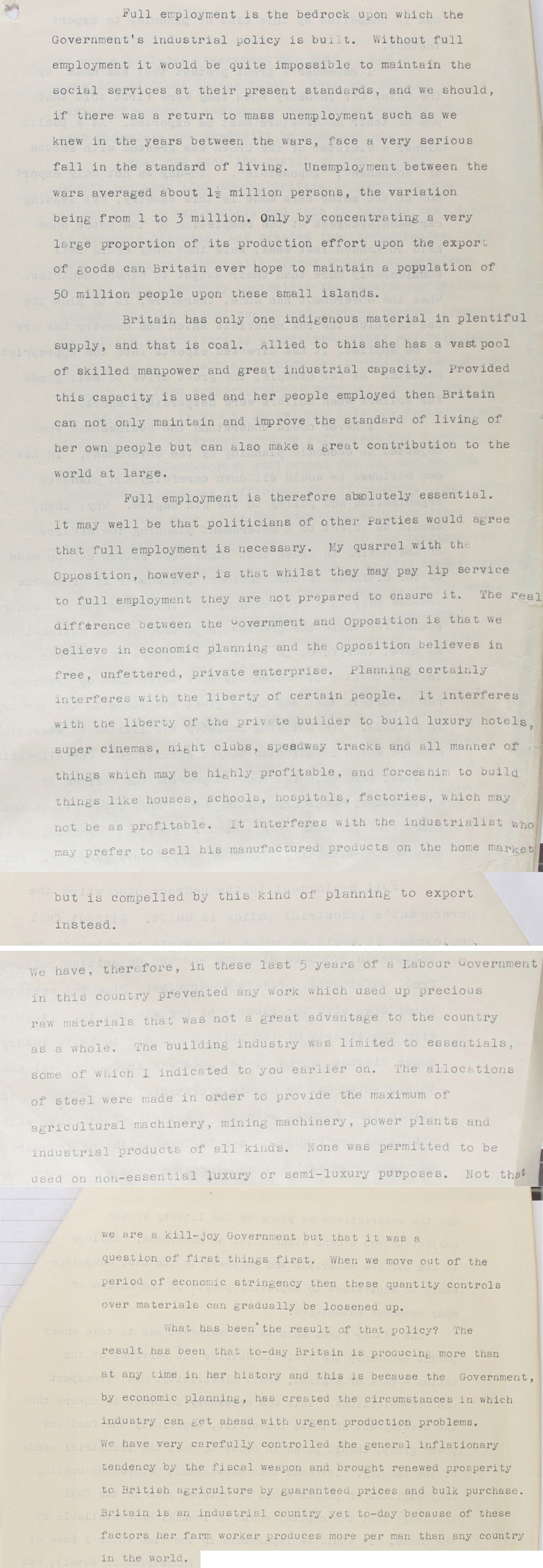 Extract of speech given to the German Section of the Foreign Office by Alfred Robens MP, Parliamentary Secretary for Ministry of Fuel & Power, 1st November, 1950 (LAB 43/35)