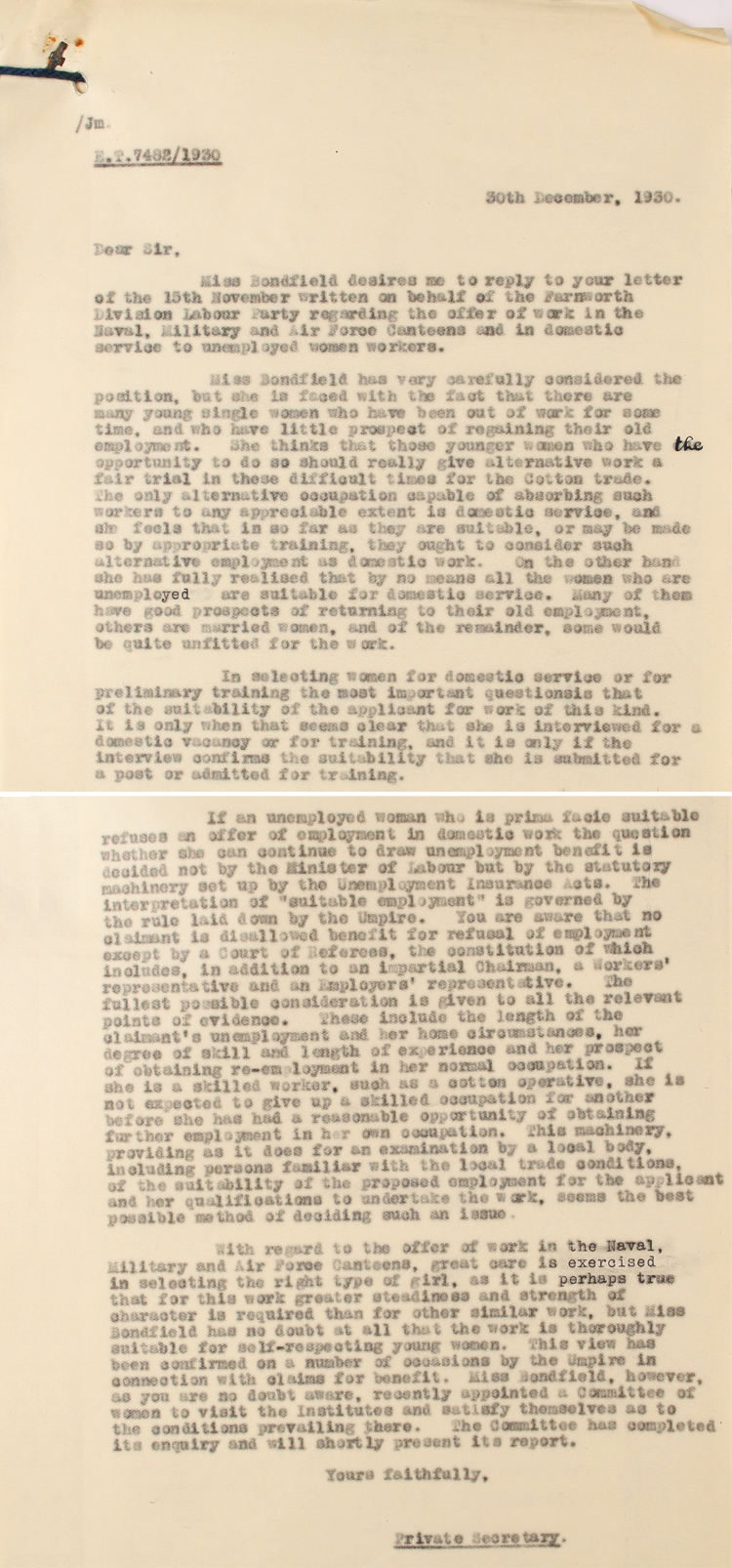 Letter to the Farnworth Labour Party on behalf of Margaret Bondfield, Minister of Labour, 30th December 1930 regarding unemployed women (LAB 2/1344/ET7560/1930)