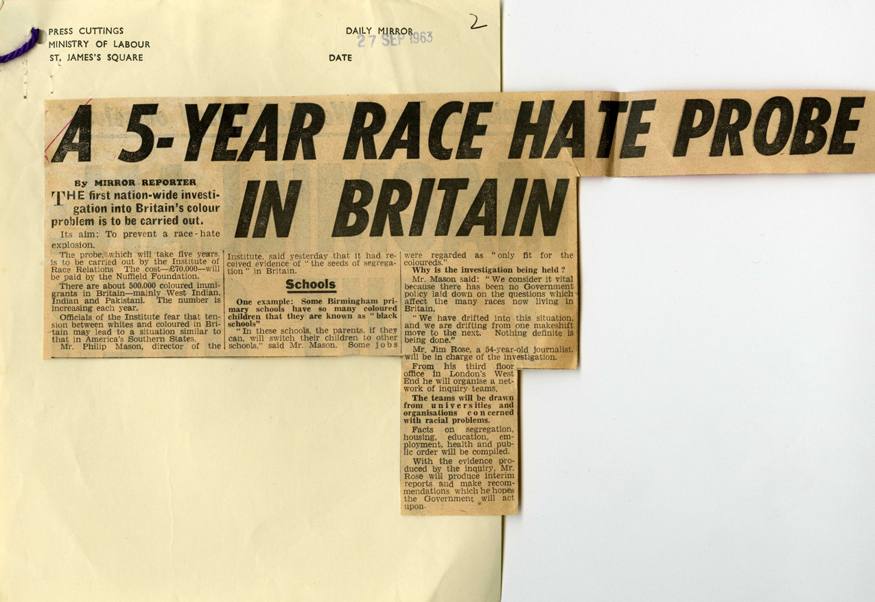 Article from the Daily Mirror about a survey on race relations in Britain to be carried out by the Institute of Race Relations, 27th September 1963 (LAB 8/2875). Mirrorpix ©
