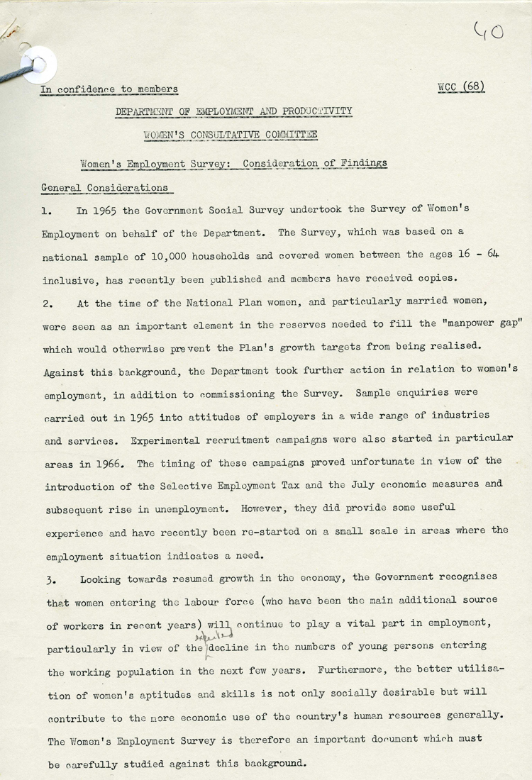 Extract from Government committee notes on Women's Employment Survey, March 1968 (LAB 8/3388)