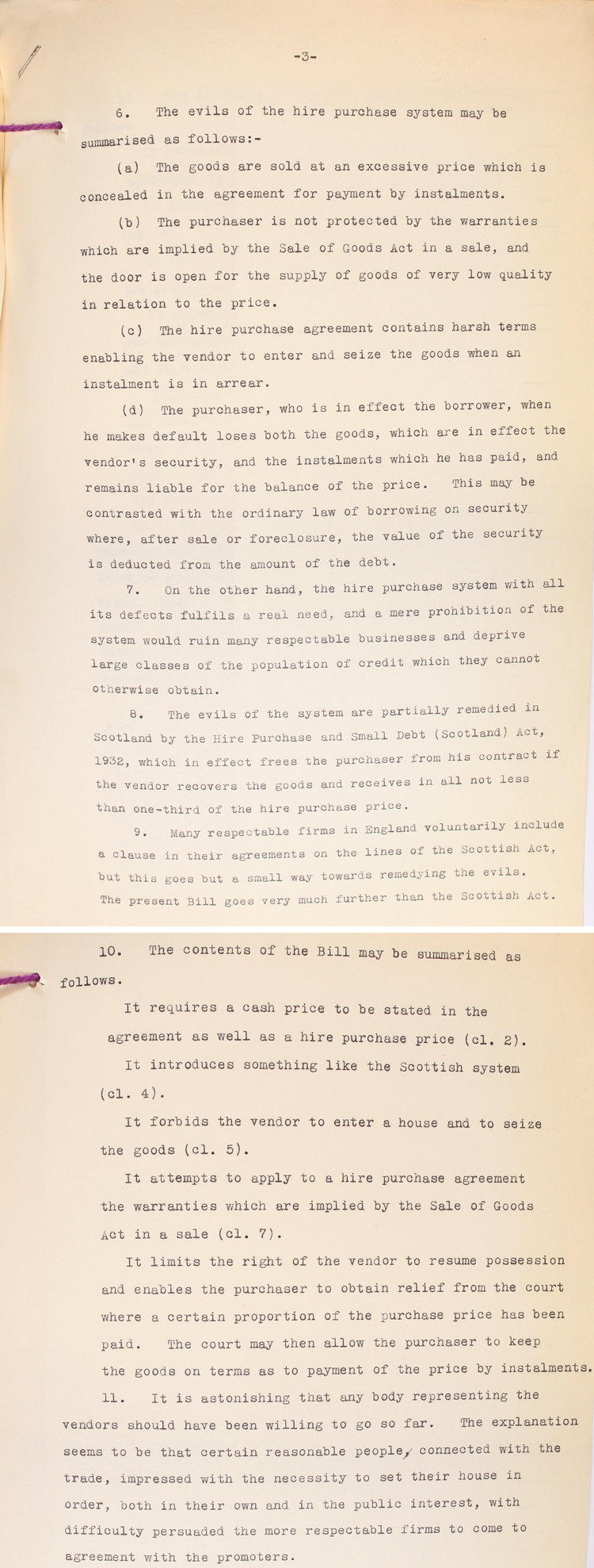 """Extracts from a report to the Lord Chancellor summarising the """"evils"""" of the hire purchase system and Labour MP Ellen Wilkinson's Bill to change the law on hire purchase, 3rd December 1937 (LCO 2/1511)"""