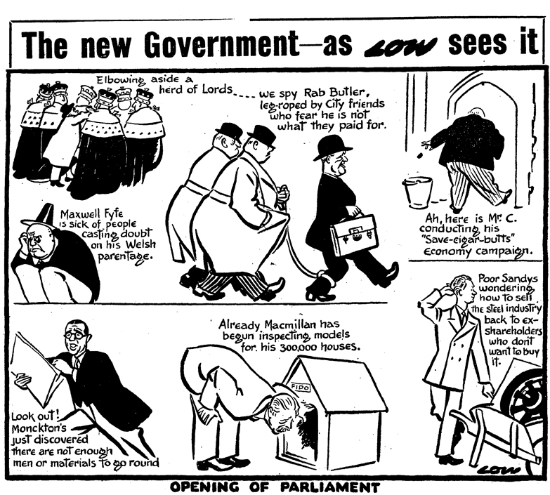 'The New Government', cartoon by David Low printed in the Daily Herald newspaper, 6th November 1951