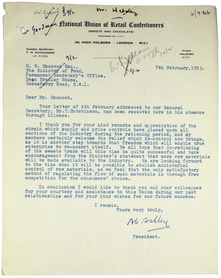 Letter sent to the Minister of Food from the National Union of Retail Confectioners, 7th February 1953 (MAF 263/56)