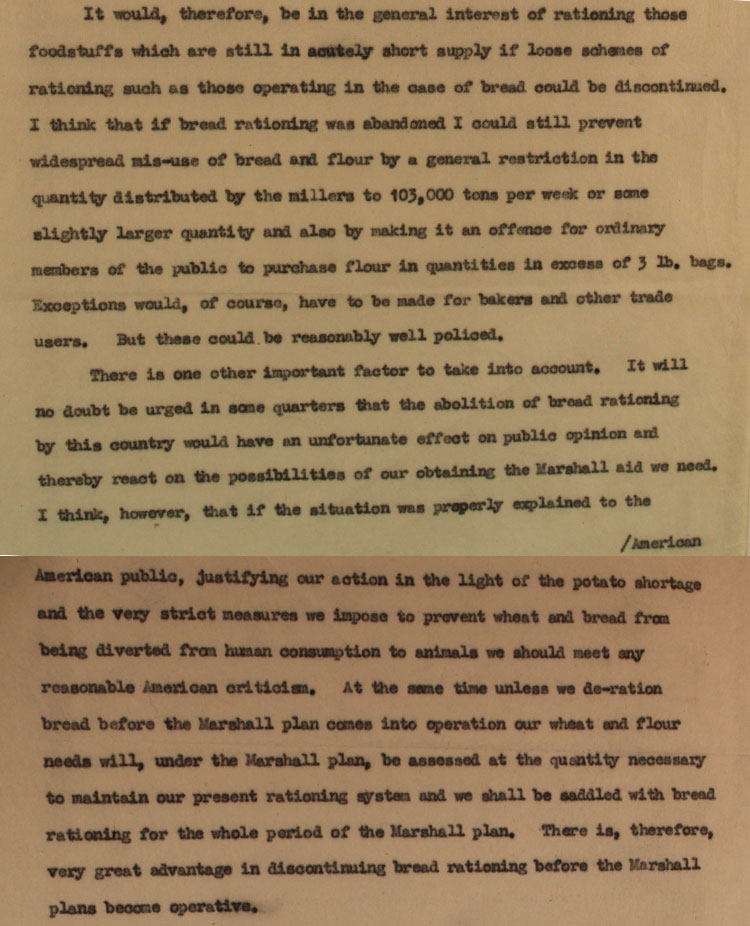 Extract from draft letter to Chancellor of the Exchequer, Stafford Cripps from Sir Herbert Broadley on behalf of the Minister of Food, January 1948 (MAF 84/197)