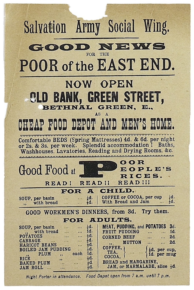 Poster from the Salvation Army, 1889 (MEPO 2/203)