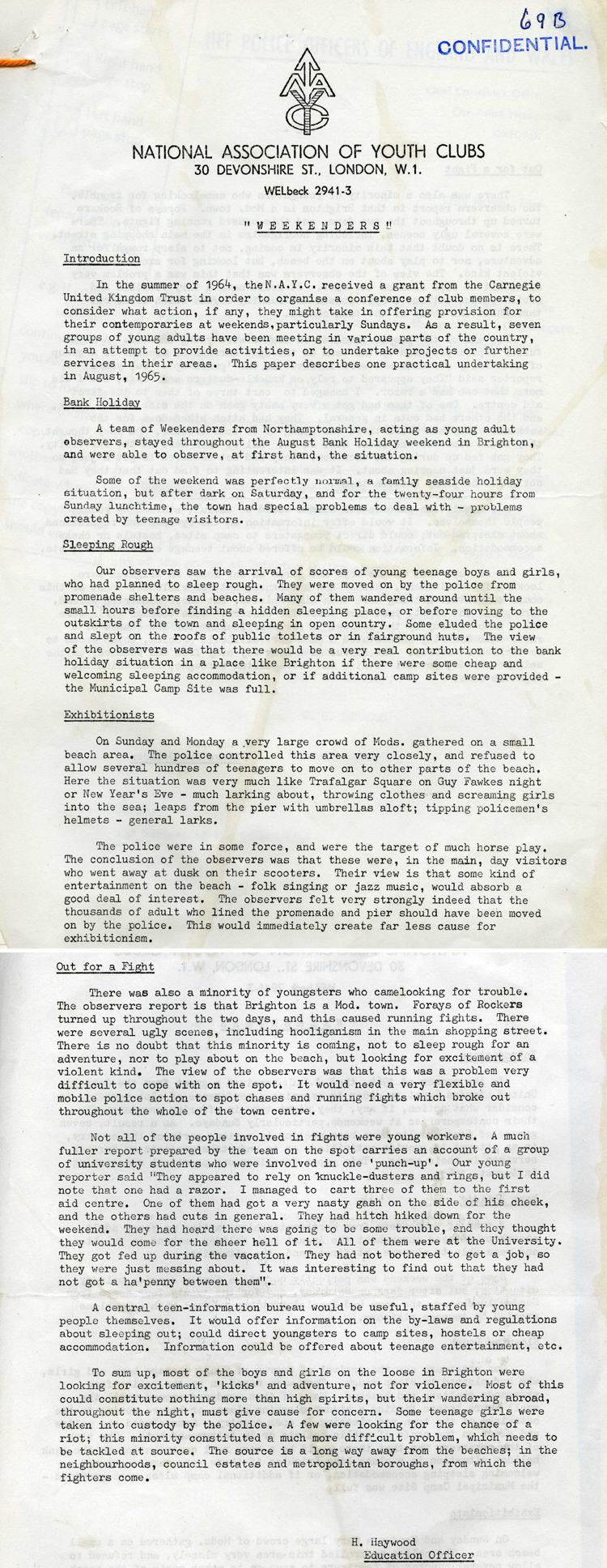 Report from the National Association of Youth clubs on youth behaviour on the August Bank Holiday in Brighton, 1965 (MEPO 2/10477)