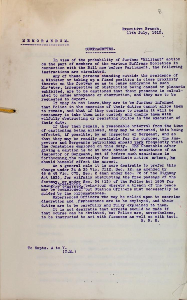 Police memorandum on Suffragettes, 11 July 1910 (MEPO 2/1308)