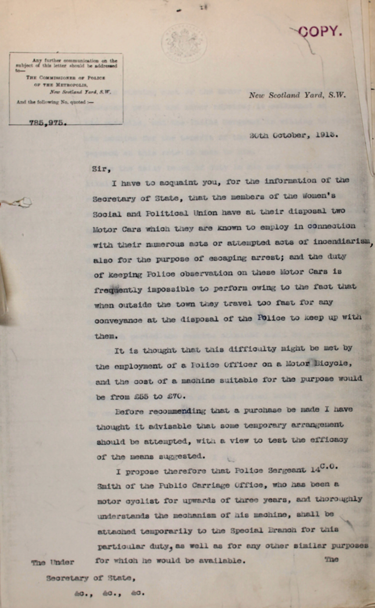 Extract from a letter to the Under Secretary of State from the Commissioner of the Metropolitan Police, 20 October 1913 (MEPO 2/1566)