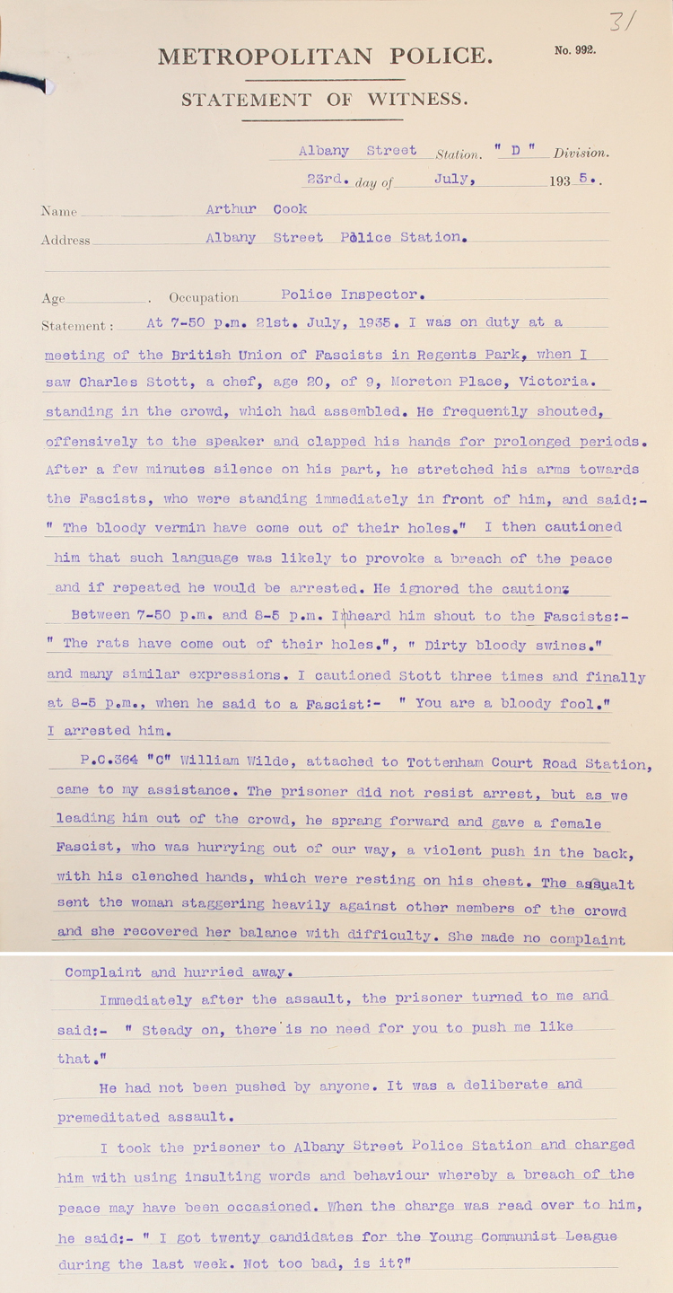Statement from a Police Officer after arresting a communist at a Fascist meeting, 23rd July 1935 (MEPO 2/3079)