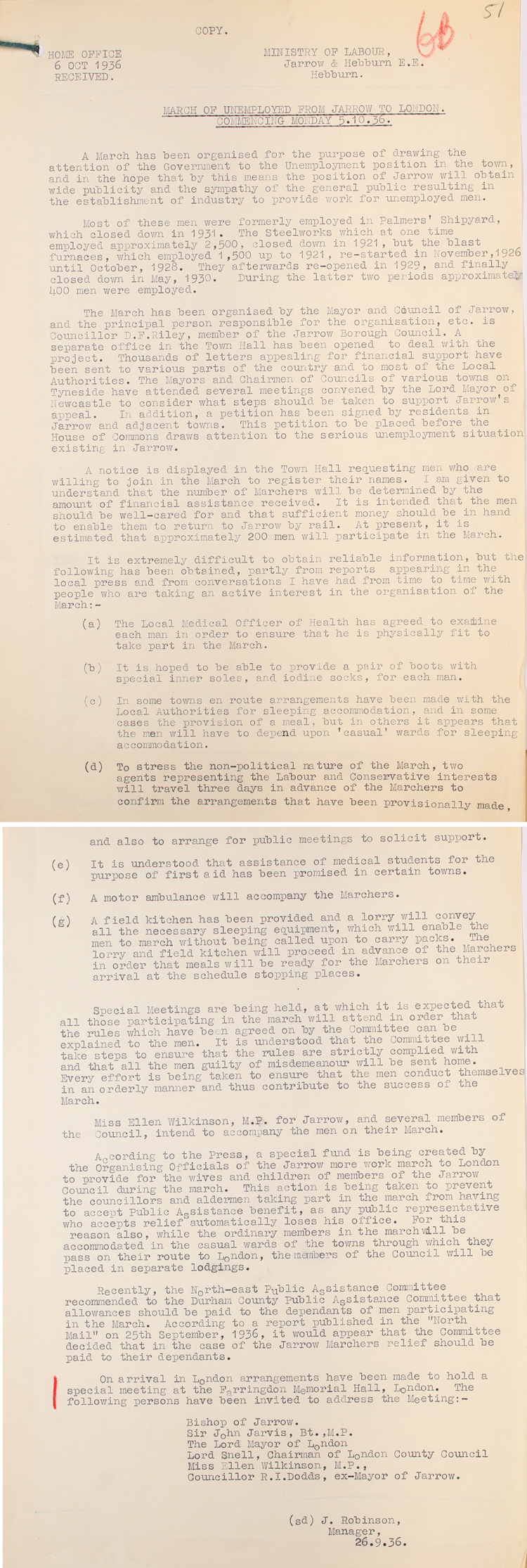 Details of the Jarrow March sent from the Ministry of Labour to the Home Office, 26th September 1936 (MEPO 2/3097)