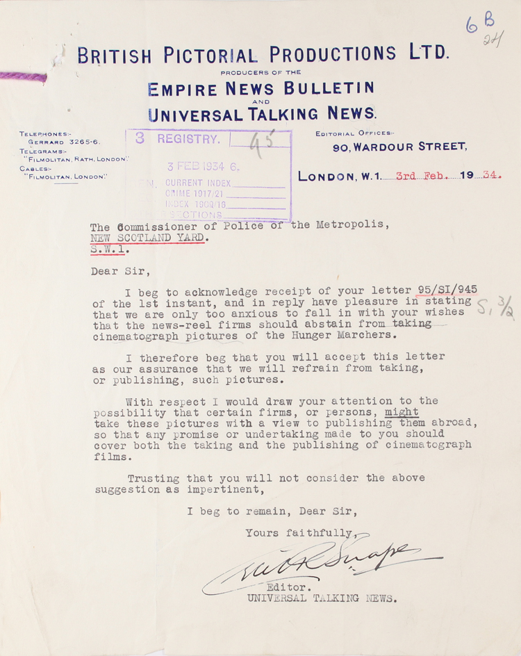 Letter from British Pictorial Productions to Scotland Yard, 3rd February 1934 (MEPO 2/5507)