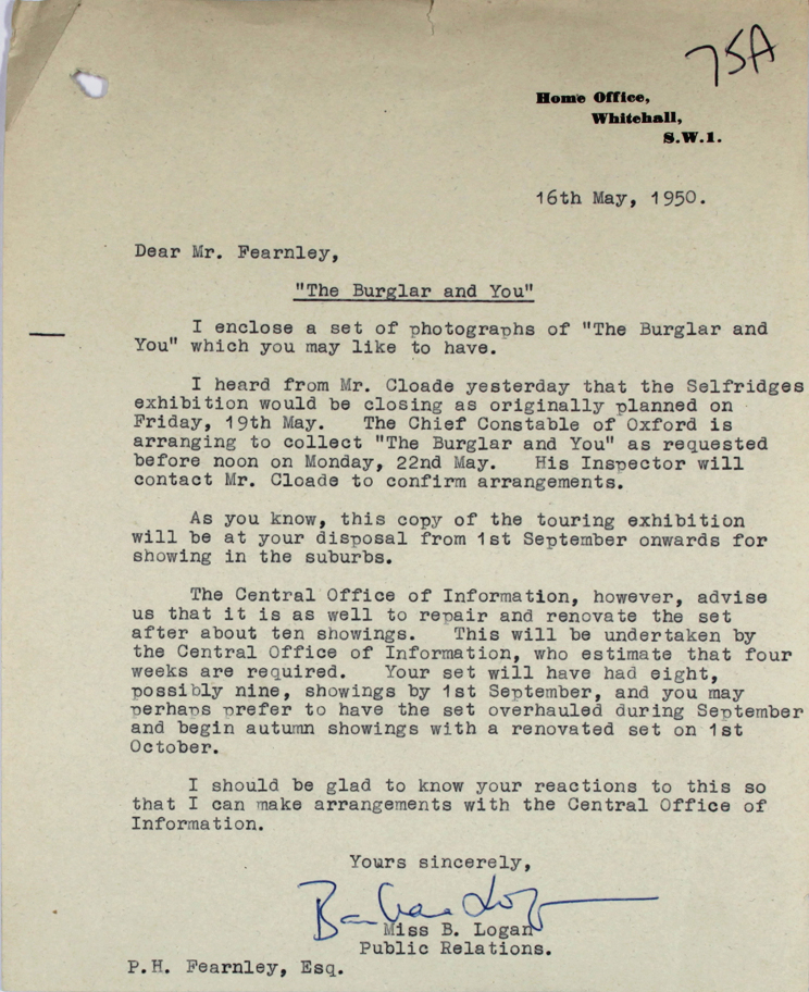 A letter from the Home Office to an officer at New Scotland Yard, 16th May 1950 (MEPO 2/8052)