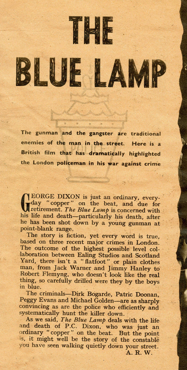 Review of the Ealing Studios film 'The Blue Lamp' from Picturegoer magazine, 18th February 1950 (MEPO 2/8342)