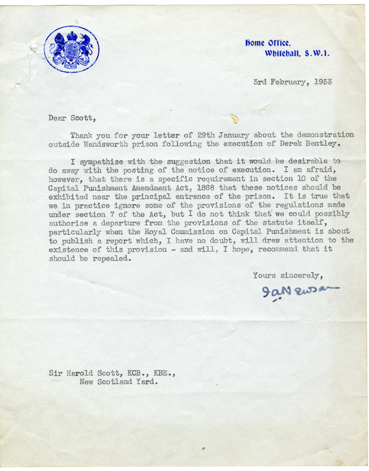 Letter from the Home Office to New Scotland Yard, 3rd February 1953 (MEPO 2/9481)