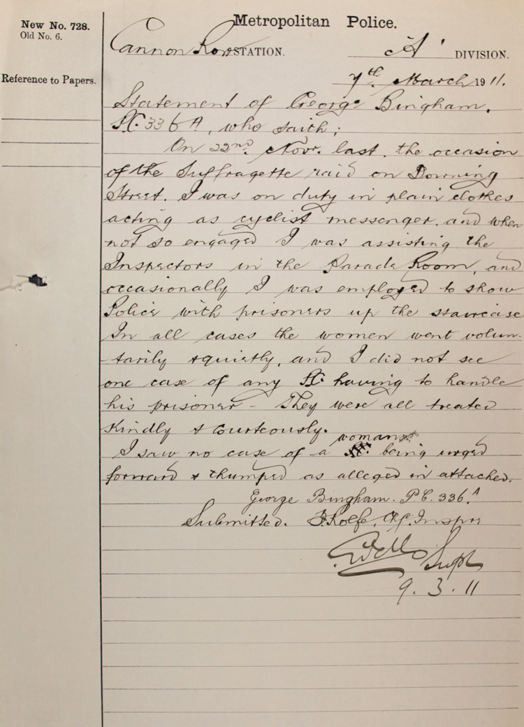 Police statement reporting on a complaint from a suffragette after a demonstration in November 1910 (MEPO 3/203)