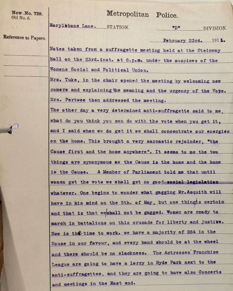 Extract from report from a police observer at a suffragette meeting held on 23 February 1911 (MEPO 3/203)