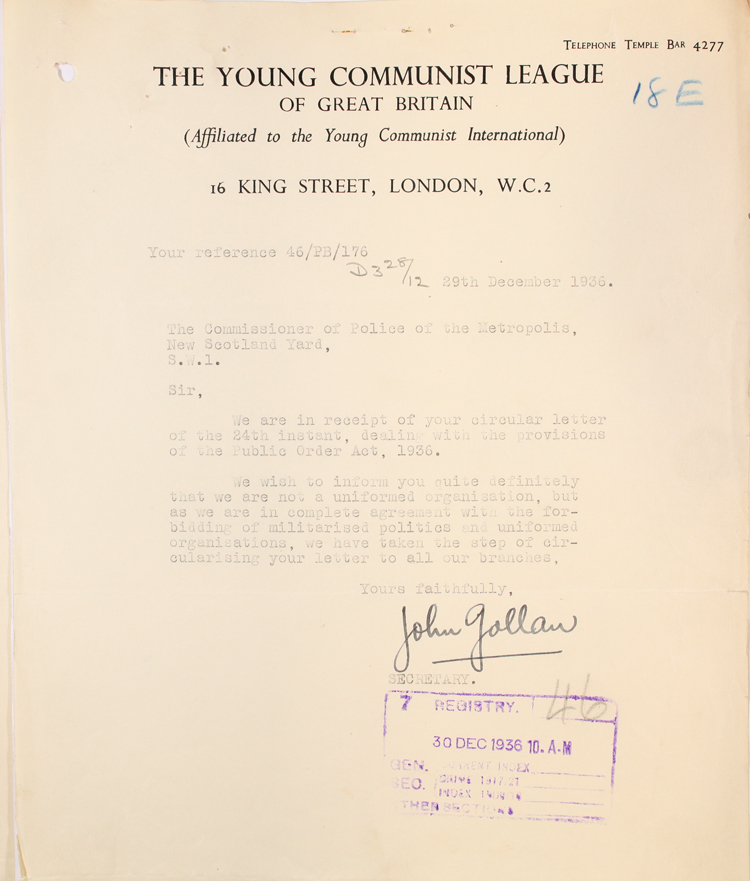Letter from the Young Communist League, 29th December 1936 (MEPO 3/2513)