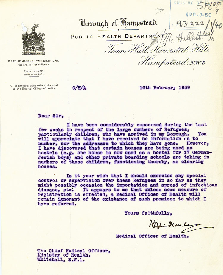Letter from the Borough of Hampstead Public Health Department to the Chief Medical Officer of Health at the Ministry of Health, 16th February, 1939, (MH 55/709)
