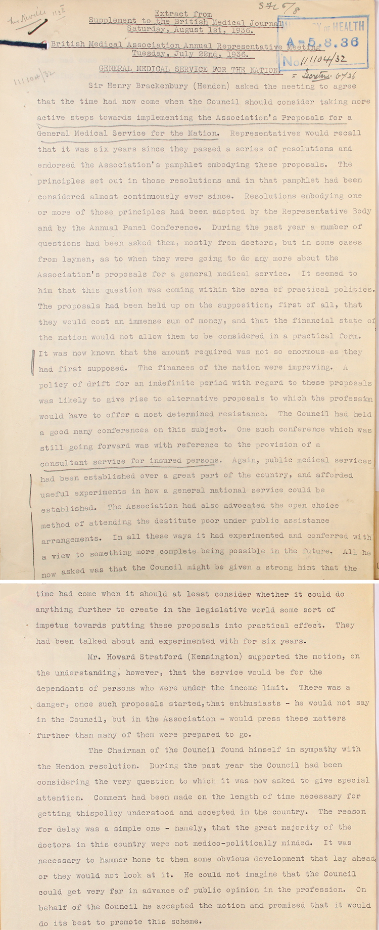 Extract from notes on British Medical Association annual meeting, 22nd July 1936 (MH 58/338)