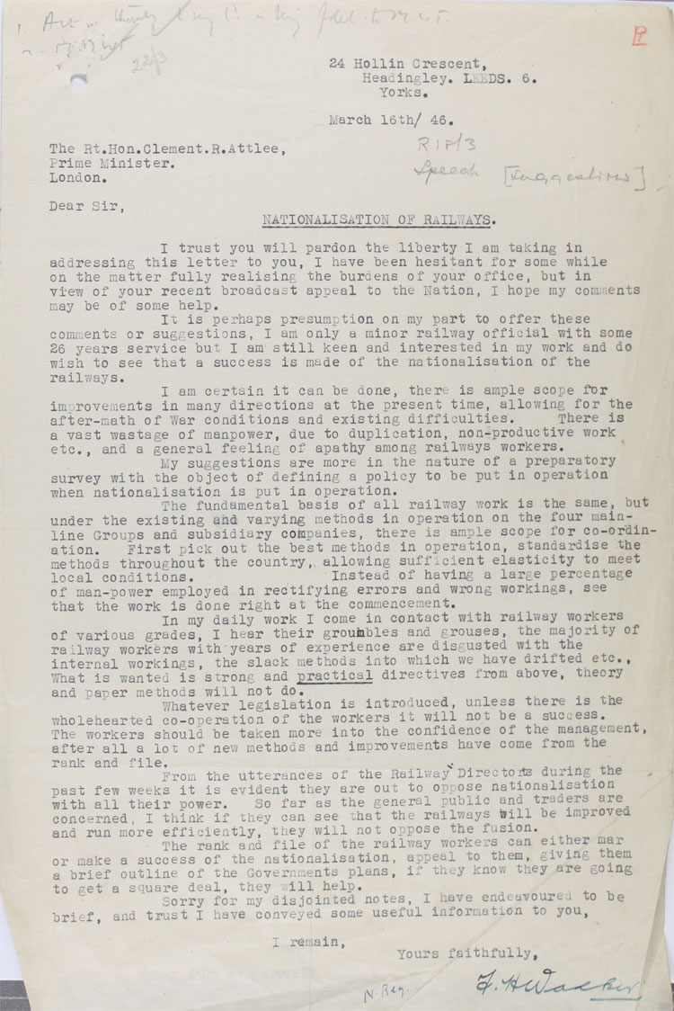 Letter from a railway worker to Prime Minister Attlee, 16th March, 1946 (MT 74/188)