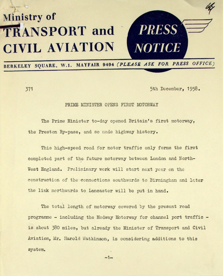Extract from a press notice from the Ministry of Transport and Civil aviation, 5th December 1958 (MT 121/22)