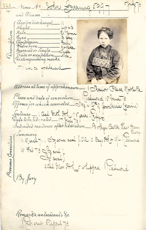 Crime sheet for John Greening, 31 May 1873 (PCOM 2/291 f.8)
