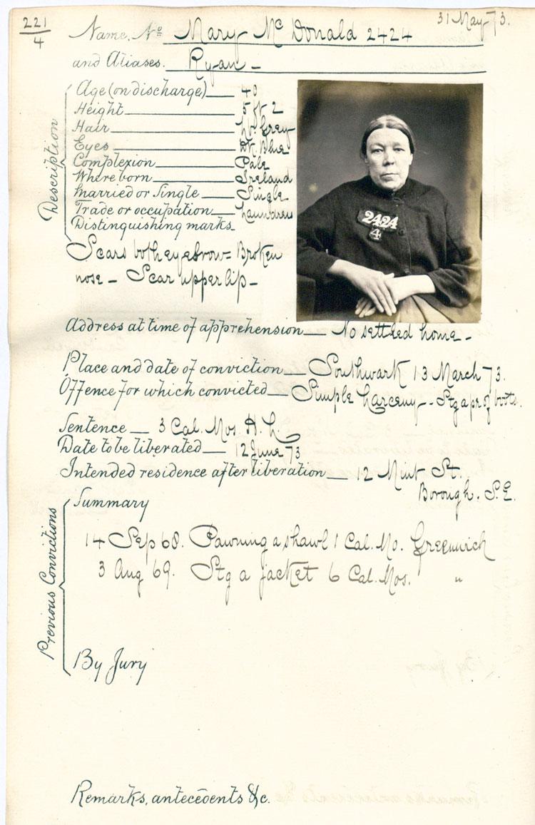 Crime sheet for Mary McDonald, 1873 (PCOM 2/291)