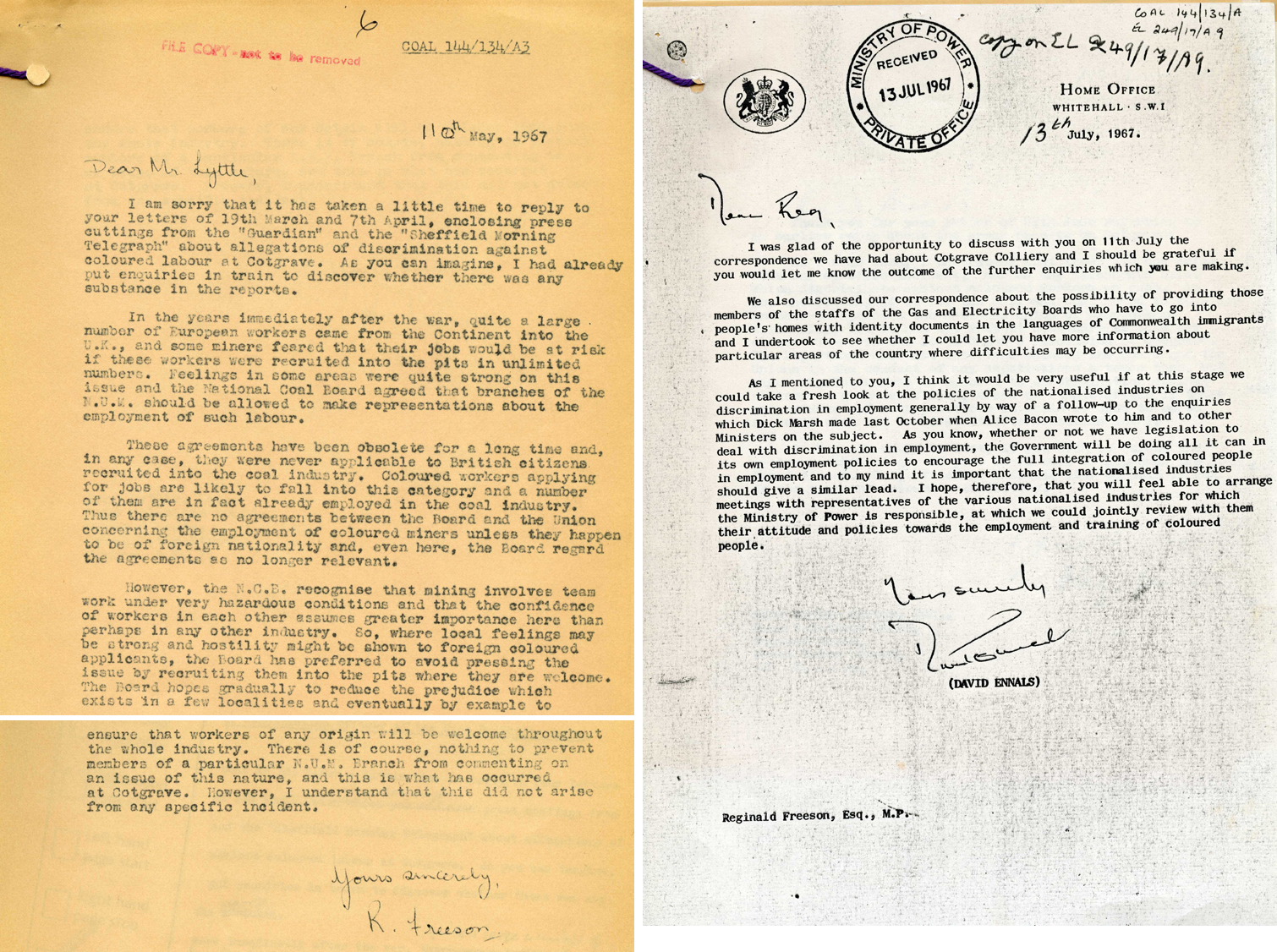 Correspondence between the Ministry of Power, Race Relations Board and Home Office, 1967 (POWE 52/199)