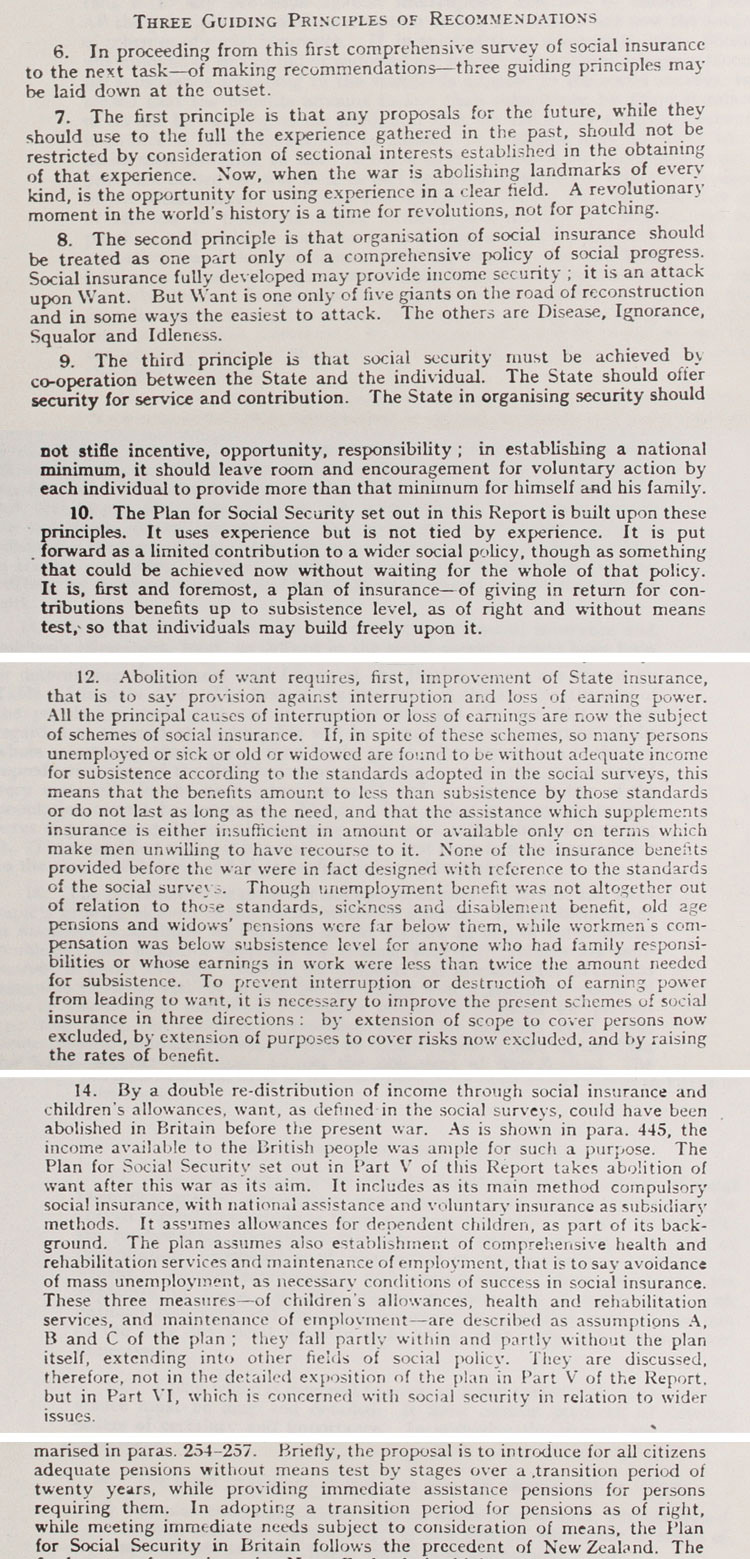 Extracts from the Beveridge Report, detailing key aims and vision, November 1942 (PREM 4/89/2)