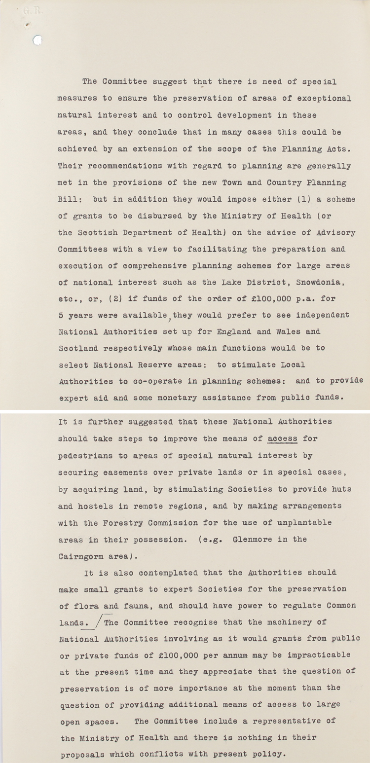 Extract from memo briefing Prime Minister MacDonald on the report of the National Parks Committee, dated 15th April 1931 (PREM 1/100)