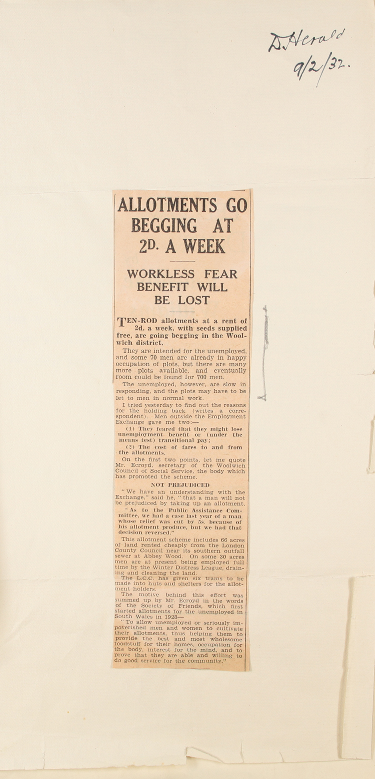 Article from the Daily Herald about an allotment scheme for the unemployed, 9th February, 1932 (PREM 1/141) Extract copyright Mirrorpix. Used by permission.