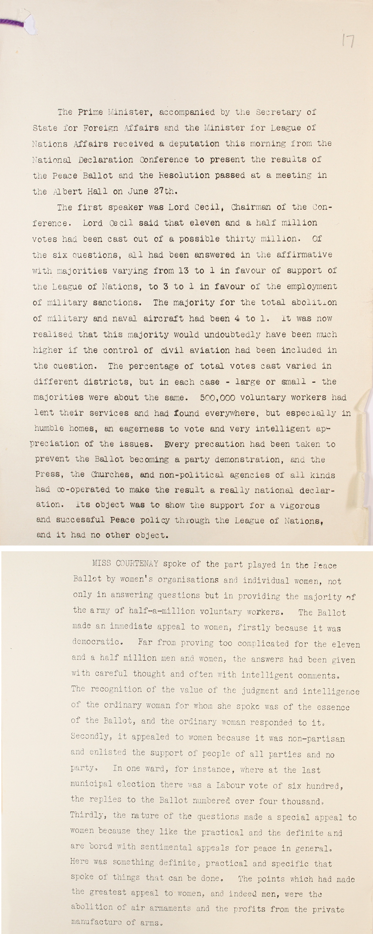 Extracts from an account of a deputation to the Prime Minister Stanley Baldwin to formally report the results of the Peace Ballot organised by the League of Nations Union, 23rd July, 1935 (PREM 1/178)
