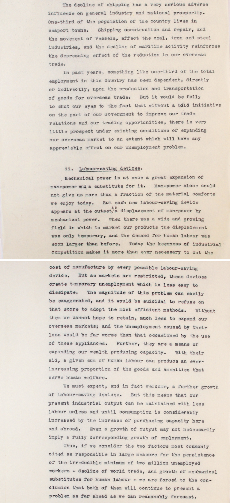 Extract from a report produced by former Prime Minister David Lloyd George on the problem of unemployment sent to serving Prime Minister Stanley Baldwin in 1935 (PREM 1/183)