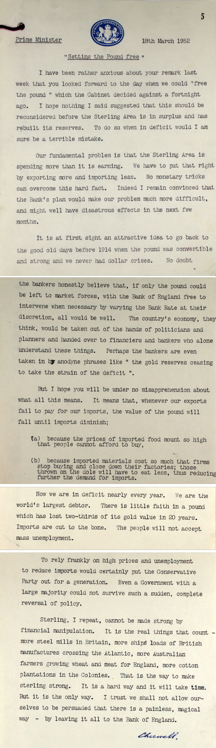 Extracts from a note sent to Prime Minister Winston Churchill by the Paymaster-General Lord Cherwell, 18th March 1952 (PREM 11/137)