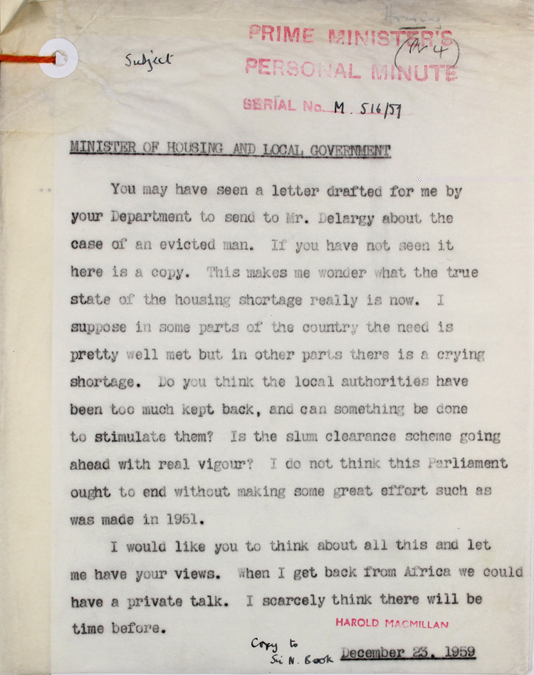 Memo from Prime Minister Harold Macmillan to the Minister of Housing and Local Government, 23rd December 1959 (PREM 11/3389)