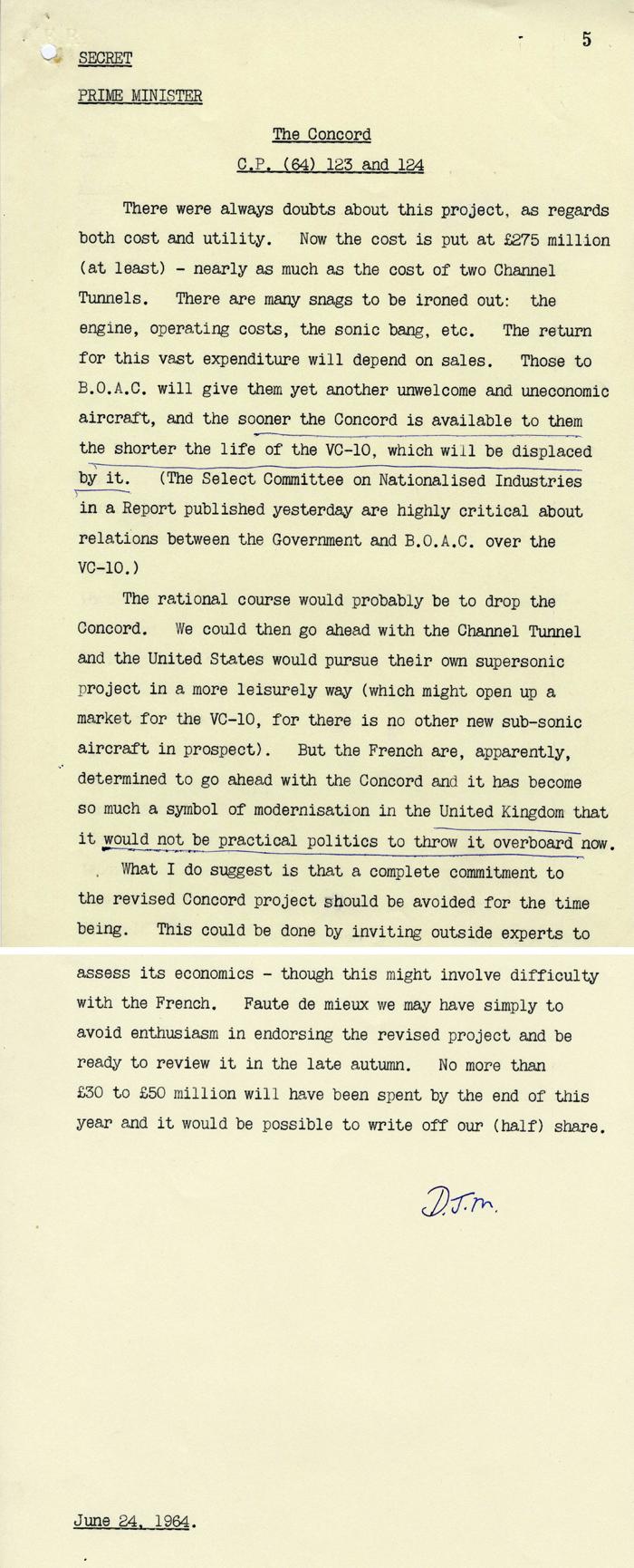 Briefing notes for the Prime Minister Alec Douglas-Home on Concorde, June 1964 (PREM 11/4612)