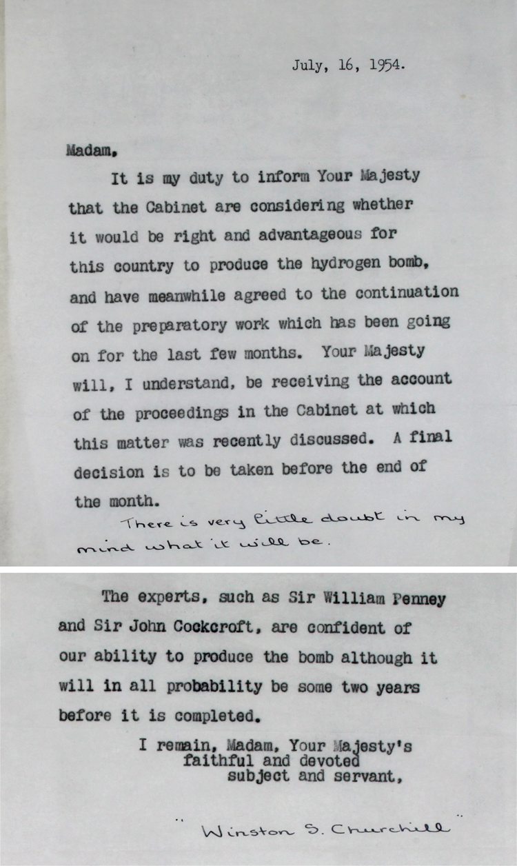 Letter from Prime Minister Winston Churchill to HM Queen Elizabeth, 16th July 1954 (PREM 11/747)