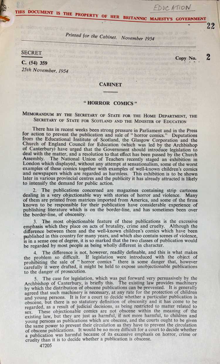 Memo sent by the Secretary of State to the Home Office, Secretary of State for Scotland and Minister for Education, 25th November 1954 (PREM 11/858)