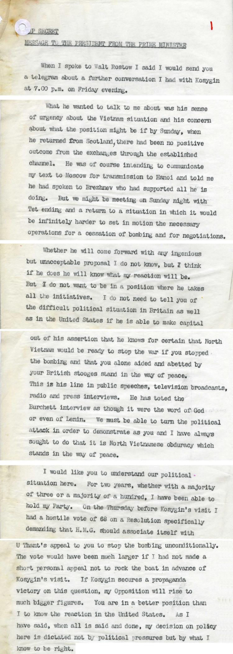 Message from Prime Minister Harold Wilson to US President Lyndon Johnson in February, 1967 (PREM 13/1788)