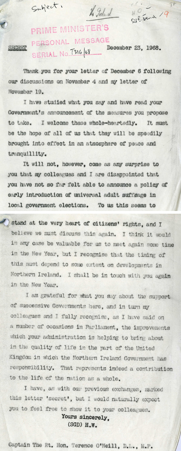 A letter from Prime Minister Harold Wilson to Prime Minister of Northern Ireland, Captain Terence O'Neill, December 23rd 1968 (PREM 13/2841)