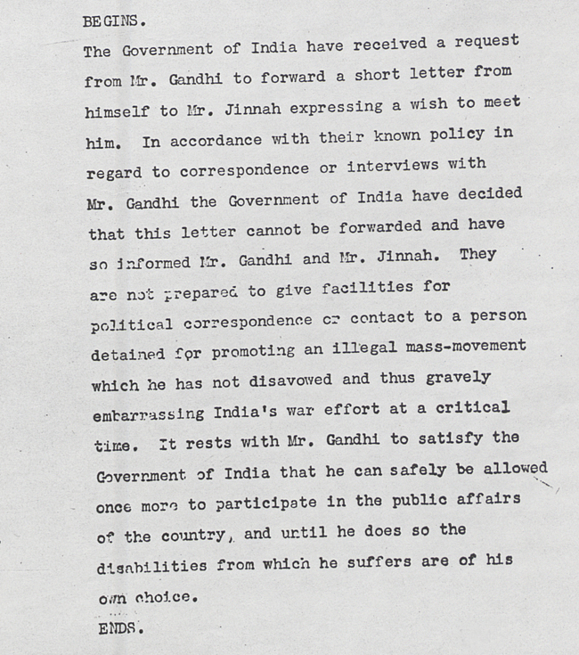 Telegram from Secretary of State for India to Prime Minister Churchill after Gandhi's imprisonment over civil disobedience, 24 May 1942 (PREM 4/46/1)