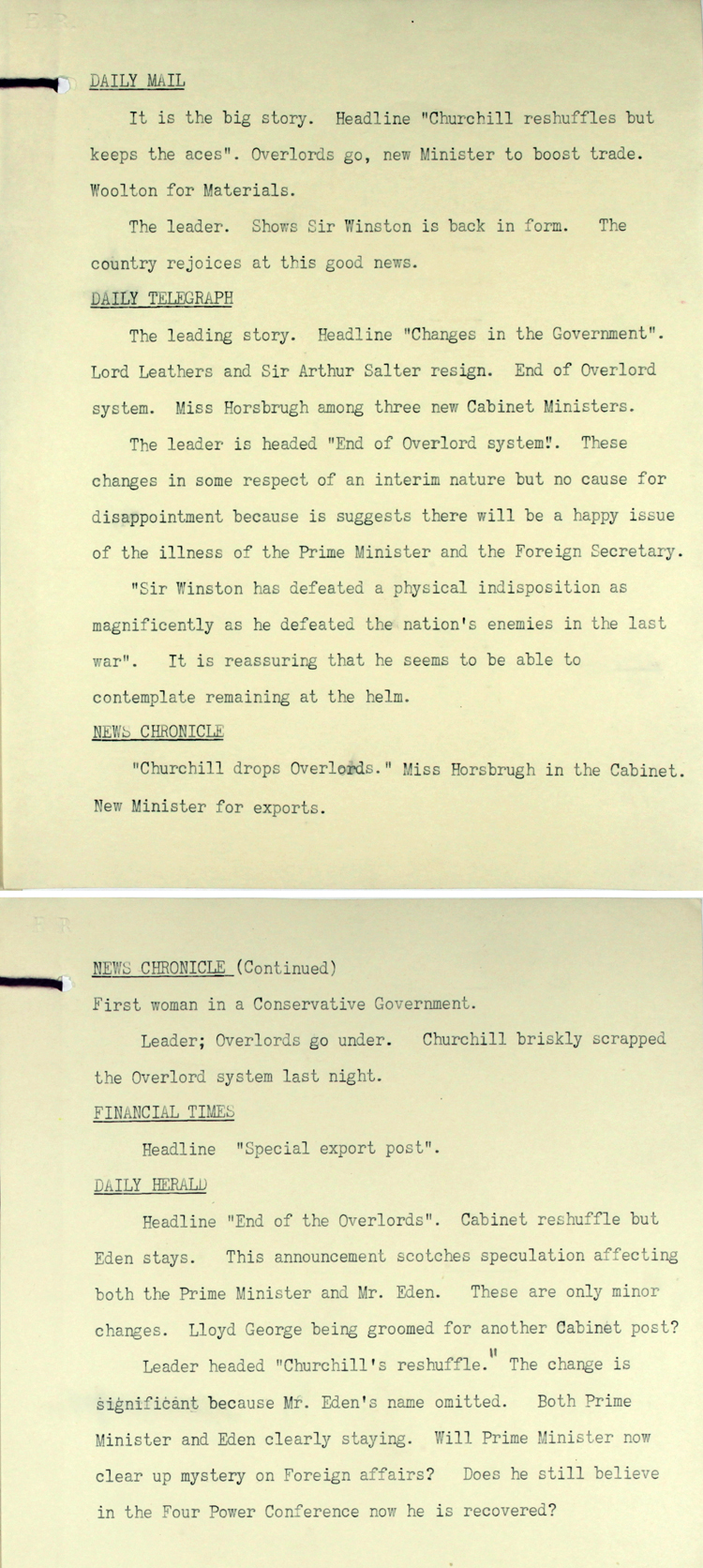 Extract from a press summary, September 1953 on Prime Minister Winston Churchill's Cabinet reshuffle (PREM 5/225)
